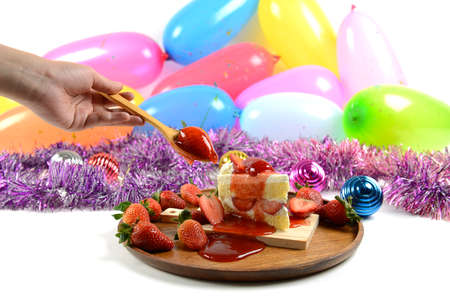 specials: Strawberry cake on party balloons background for celebrations in specials days.