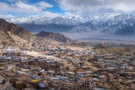 Beautiful Leh city on surround mountains background, Ladakh India Tibet.