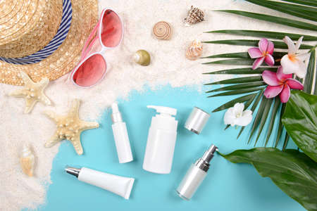 Summer and sunscreen, Beauty cosmetics product for skin care and women accessories on the beach. (Sun protection product concept) Stock fotó