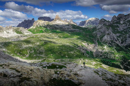 Amazing landscapes view of green mountain with blue sky on summer from Dolomites, Italy. Stok Fotoğraf