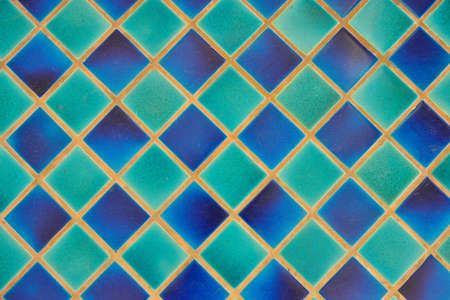 Blue and green mosaic tiles texture for graphic Design.
