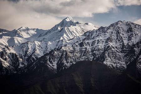 Snow Mountain with Blue Sky from Leh Ladakh India. Stock Photo