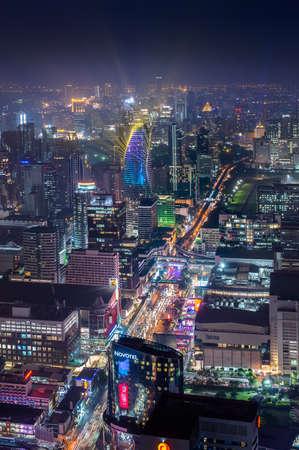 Bangkok, Dec 2018, Thailand : Aerial view of Bangkok skyline and skyscraper on new year.