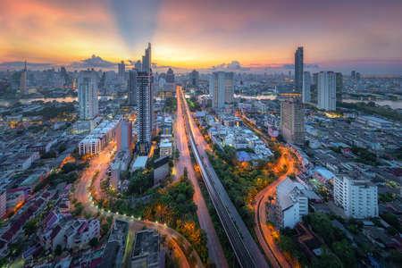 Amazing beautiful view of midtown Bangkok city skyline and skyscraper at sunset. Stock Photo