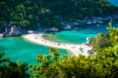 Amazing scenery top view of Island with white sandy beach in Thailand.
