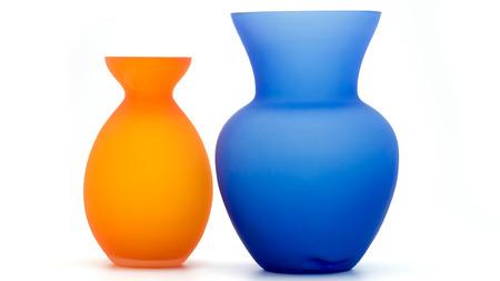 Orange and blue vases Stock Photo