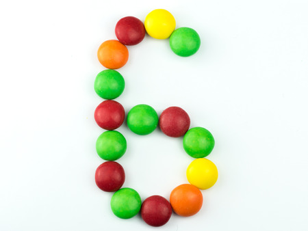 Number six made from candies
