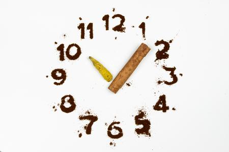 Clock made of coffee 10 oclock