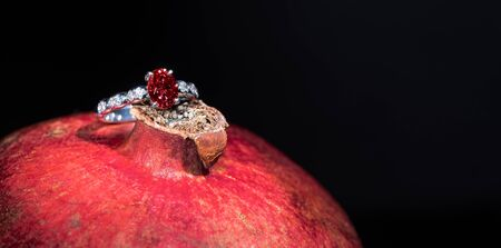 Ruby Engagement Ring on Pomegranate