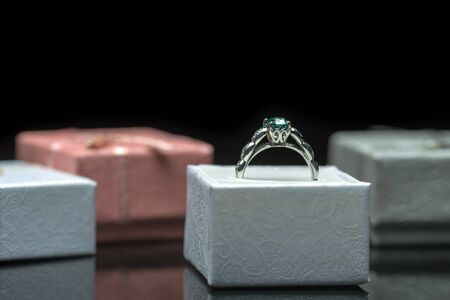 Emerald Ring in Jewelry Boxes