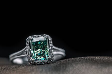 Emerald Halo Ring Stock Photo
