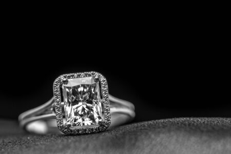 Emerald Cut Diamond Halo Ring Stock Photo