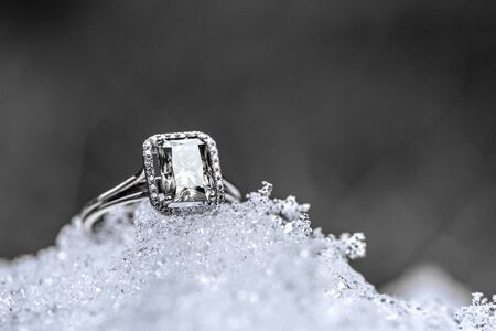Diamond Halo Ring on Snow Surface
