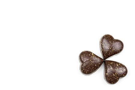 Heart Shape Chocolate on White Background