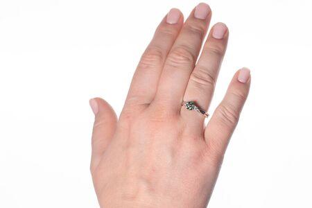 Diamond Ring on Woman Finger Stock Photo