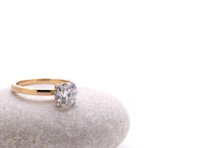 Diamond Ring on White Stone