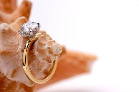 Engagement Diamond Ring on Seashell