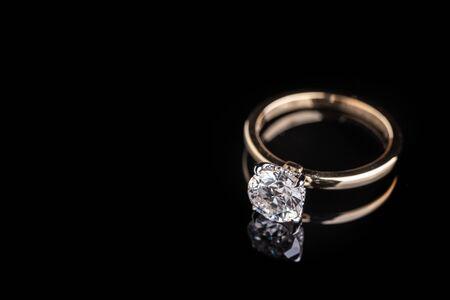 Solitaire Diamond Ring Stock Photo