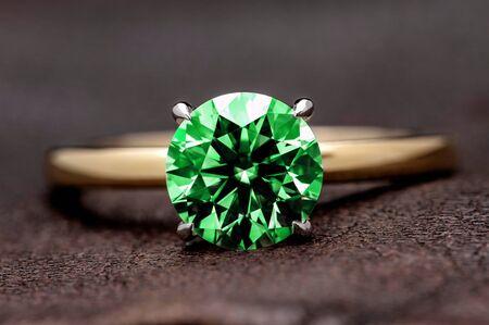 Green Gemstone Jewelry Ring Stock Photo