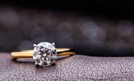 Golden Diamond Ring Stock Photo