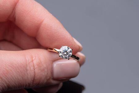 Diamond Ring on Female Hand