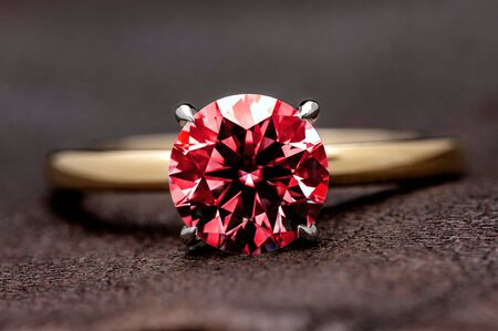 Ruby Ring. Red Gemstone on Jewelry Ring