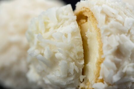 White Candy With Coconut Topping Close up 版權商用圖片