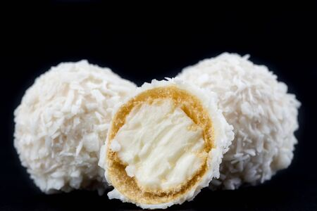 Sliced White Candy With Coconut Topping 版權商用圖片