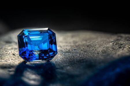 Sapphire Blue Luxury Precious Gemstone on black