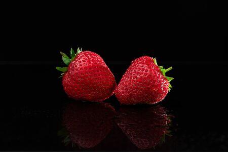 Strawberries on Black Background