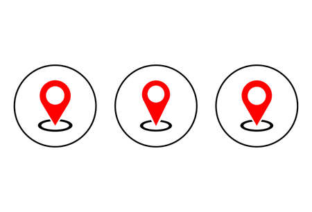 Pin icon set isolated on white background. Location icon. Map pointer icon. Point. Locator. Address Vector Illustration