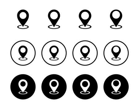 Pin icon set isolated on white background. Location icon. Map pointer icon. Point. Locator. Address Vettoriali