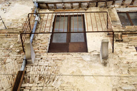 bevagna: without floor balcony an old building of Bevagna