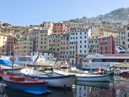small harbor in Camogli, famous ancient little town in Liguria, Italy  photo