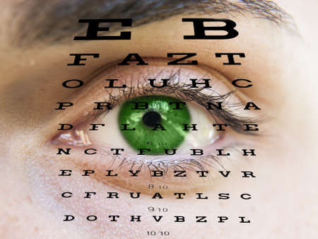 Eye test vision chart with man s face background photo