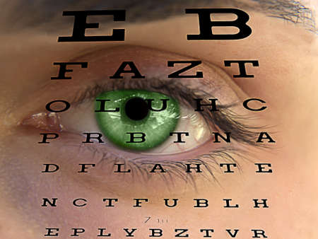 man s: Eye test vision chart with man s face background