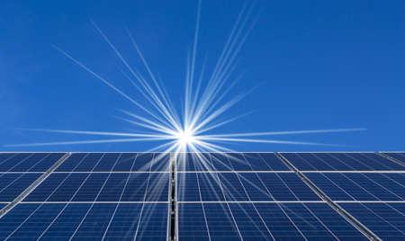 Background of Blue solar panels photo