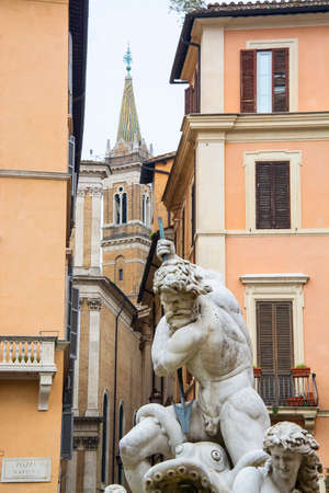 piazza: fountain of four rivers in Piazza Navona, Rome Stock Photo