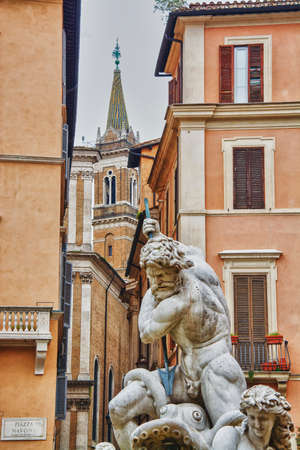 navona: fountain of four rivers in Piazza Navona, Rome Stock Photo