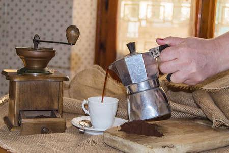 grinder: Mocha, coffee and coffee grinder Stock Photo