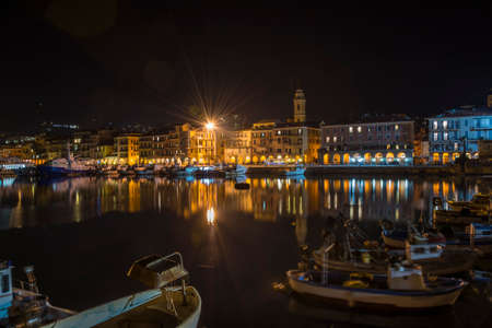 Imperia Oneglia harbor at night