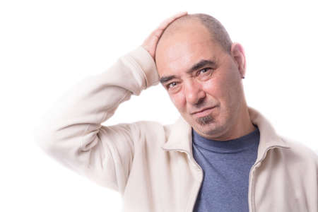 Man with headache in white background