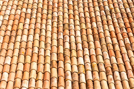 detail of a roof made with antique tiles Archivio Fotografico