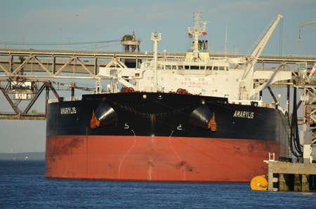 Large oil tanker ship in port