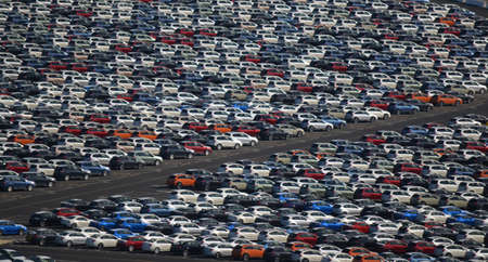 New Cars Parked in a Lot Stock Photo