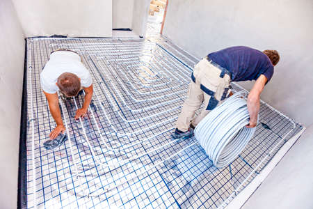 Pipe fitter mounted underfloor heating. Heating system and underfloor heating.
