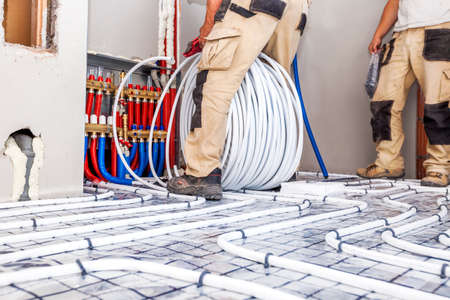 Pipe fitter mounted underfloor heating. Heating system and underfloor heating.P