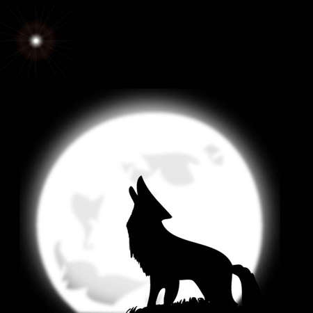 howl: wolf & moon. Vector Illustration