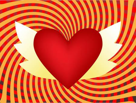 corazon con alas: Alas de coraz�n. Vector - f�cil de editar  Vectores