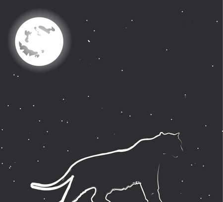 Night hunter. Vector - easy to edit Vector